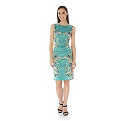 Uttam Boutique - Green Mirrored Floral Print Dress