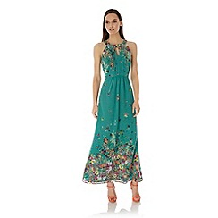 Uttam Boutique - Green Floral Print Halterneck Maxi Dress