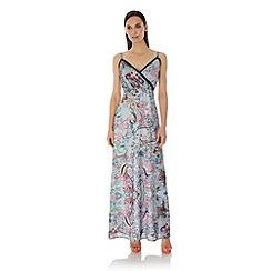 Uttam Boutique - Blue Paisley Print Strappy Maxi Dress