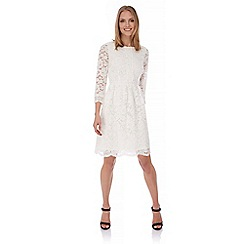 Uttam Boutique - Cream Mixed Lace Dress