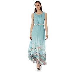 Uttam Boutique - Blue Oriental Print Pleated Maxi Dress