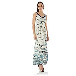 Uttam Boutique - Blue Dragonfly Print Maxi Dress