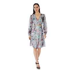 Uttam Boutique - Blue Paisley Print Long Sleeve Wrap Dress