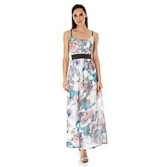 Uttam Boutique - Multicoloured  Cherry Blossom Print Maxi Dress