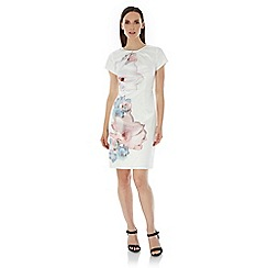 Uttam Boutique - Cream Cherry Blossom Print Party Dress