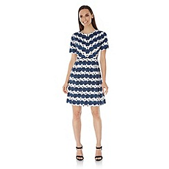 Uttam Boutique - Blue Daisy Stripe Print Day Dress