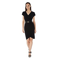 Uttam Boutique - Black Obi Belted Wrap Dress