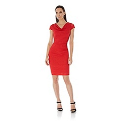 Uttam Boutique - Red Spotty Lace Cowl Neck Dress