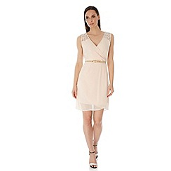 Uttam Boutique - Cream Crochet Trim Party Dress