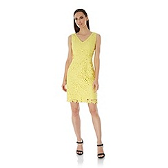 Uttam Boutique - Yellow Lace Occasion Dress