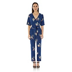 Uttam Boutique - Blue Peacock Print Wrap Jumpsuit