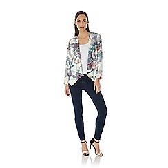 Uttam Boutique - Multicoloured  Cherry Blossom Print Waterfall Jacket
