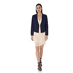 Uttam Boutique - Blue ponte tailored jacket
