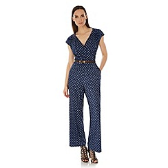 Uttam Boutique - Blue Daisy Print Jumpsuit