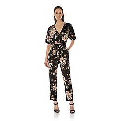 Uttam Boutique - Black Eastern Floral Print Jumpsuit