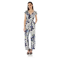 Uttam Boutique - Grey Floral Print Wrap Jumpsuit