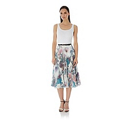 Uttam Boutique - Multicoloured  Cherry Blossom Print Pleated Midi Skirt