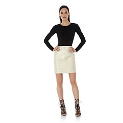 Uttam Boutique - Yellow Gold Daisy Jacquard Pencil Skirt