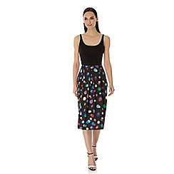 Uttam Boutique - Black bokeh print pleated midi skirt