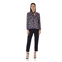 Uttam Boutique - Blue leopard print pussybow blouse