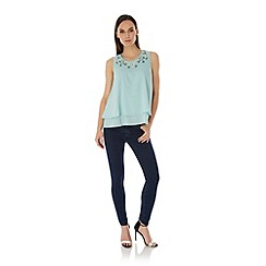Uttam Boutique - Blue Embellished Swing Top