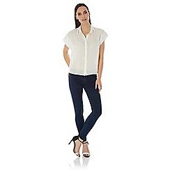 Uttam Boutique - Cream Embellished Collar Shirt