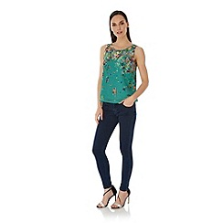 Uttam Boutique - Green Floral Print Vest Top