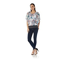 Uttam Boutique - Multicoloured  Cherry Blossom Print Butterfly Top