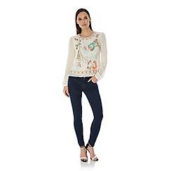 Uttam Boutique - Cream Embellished Long Sleeve Tunic Top