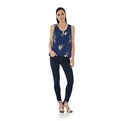 Uttam Boutique - Blue Peacock Print Vest Top