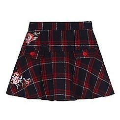 Uttam Kids - Blue check rose print peplum skirt