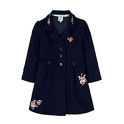 Uttam Kids - Blue rose embroidery fit and flare coat