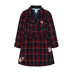 Uttam Kids - Blue embroidery check fit and flare coat
