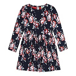 Uttam Kids - Blue rose print long sleeved jersey dress