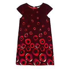 Uttam Kids - Red poppy print velvet dress