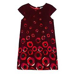 Uttam Kids - Red poppy print velvet dress