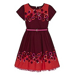 Uttam Kids - Red poppy print border dress