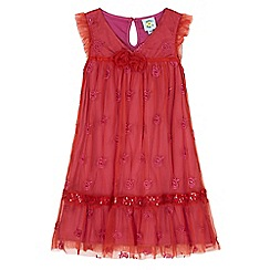 Uttam Kids - Pink floral embroidery mesh party dress