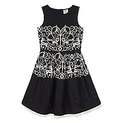 Uttam Kids - Black monochrome forest print party dress