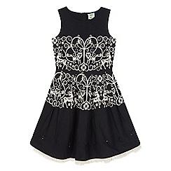 Uttam Kids - Black monochrome forest print party dress