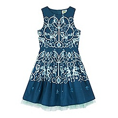 Uttam Kids - Green monochrome forest print party dress
