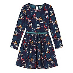 Uttam Kids - Blue forest print long sleeved skater dress