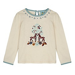Uttam Kids - Cream forest embroidered long sleeved top