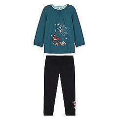 Uttam Kids - Green forest animal print tunic set