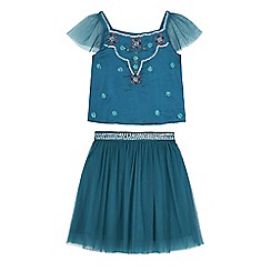 Uttam Kids - Green mesh and satin party top and skirt set
