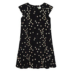 Uttam Kids - Black blossom floral print velvet dress