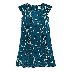 Uttam Kids - Green blossom floral print velvet dress