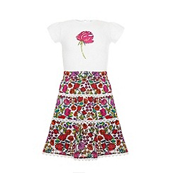 Uttam Kids - Floral garden skirt and rose t-shirt.