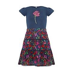 Uttam Kids - Floral garden skirt and rose t-shirt.