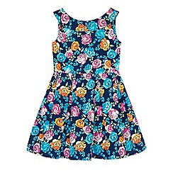 Uttam Kids - Blue Floral Print Boat Neck Dress